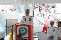 Rear Adm. Scott A. Buschman, commander of the Coast Guard 7th District, delivers his remarks during the commissioning ceremony for the Coast Guard Cutter Donald Horsley at Coast Guard Sector San Juan, Puerto Rico, May 20, 2016. (U.S. Coast Guard photo/Ricardo Castrodad)