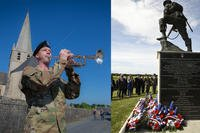 Commemorating D-Day in France: Sgt. Jonathan Bosarge performs Taps in Picauville, France. (Army photo: Spc. Joseph Agacinski) and dignitaries salute as 'Taps' is played during the 'Iron Mike' wreath-laying ceremony in Sainte-Mere-Eglise, France (Army photo: Staff Sgt. Tamika Dillard)