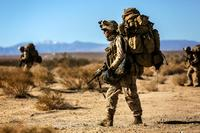 Members of 1st Battalion, 5th Marines patrol towards their objective during a training exercise in California. Two first lieutenants who attended the Marine Corps' innovation symposium have an idea for restructuring an infantry battalion. (U.S. Marine Corps/Cpl. Justin A. Bopp)