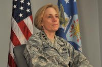 U.S. Air Force Lt. Gen. VeraLinn Jamieson, Intelligence, Surveillance and Reconnaissance Deputy Chief of Staff, talks about ISR's future during an interview on Goodfellow Air Force Base, Texas, April 13, 2017. (U.S. Air Force photo/Laura R. McFarlane)