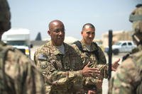 July 2015: Gen. Charles Q. Brown Jr. speaks with airmen assigned to the 455th Expeditionary Security Forces Squadron at Bagram Airfield, Afghanistan. He now commands the Pacific Air Forces. (US Air Force photo/Joseph Swafford)