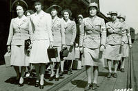 New recruits for the Women's Army Auxiliary Corps arrive at Fort Des Moines, Iowa in 1942. (U.S. Army Signal Corps Collection photo)