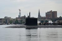 The Virginia-class attack submarine USS Virginia (SSN 774) departs Naval Submarine Base New London for a six-month deployment, August 13, 2013. (U.S. Navy photo/Jason J. Perry)