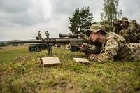Sky Soldier Snipers from HHC, 2nd Battalion, 503rd Infantry Regiment engaged targets in Grafenwoehr, Germany September 6, 2018 during Saber Junction 18. (U.S. Army photo by Spc. Josselyn Fuentes)