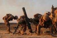 Coalition forces launch mortars into known ISIS territory near Abu Kamal, Syria, on Aug. 22, 2018. The coalition advises and assists Syrian Democratic Forces as they lead Operation Roundup, the military offensive to eliminate the remaining ISIS strongholds in Syria. (U.S. Army photo by Spc. Christian Simmons)