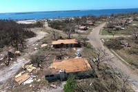 A screen shot of an Air Force video shows housing destruction caused by Hurricane Michael. (U.S. Air Force)