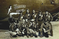 "U.S. Army Air Corps 1st Lt. John D. Crouchley, kneeling, second right, and his crew pose for a photo by their B-24 Liberator, ""Miss Yankee Rebel"" in 1944. Crouchley was assigned to the 828th Bombardment Squadron, 485th Bombardment Group in Foggia, Italy, and went into combat in May 1944. He was killed when his aircraft was shot down over Bulgaria while returning from a bombing mission on June 28, 1944. (Courtesy photo via DVIDS)"