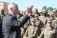 James Mattis, U.S. Secretary of Defense, speaks with troops from the 56th Multifunctional Medical Battalion, 62nd Medical Brigade on Nov. 14, 2018 at Base Camp Donna, Texas. (DoD/Master Sgt. Jacob Caldwell)