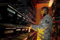 Airman working in cyber security