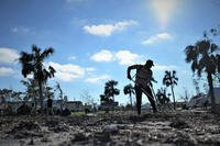 An airman from Tyndall Air Force Base cleans debris from Under the Palms Park in Mexico Beach, Fla., Dec. 16, 2018. (U.S. Air Force photo/Sara Keller)