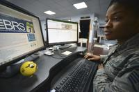 Air Force Staff Sgt. Dalia Theodule, 380th Air Expeditionary Wing command chief executive assistant, researches the Blended Retirement System at Al Dhafra Air Base, United Arab Emirates, on Jan. 31, 2018. (U.S. Air Force photo by Airman 1st Class D. Blake Browning)