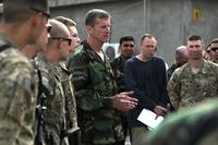 Then International Security Assistance Force commander Gen. Stanley McChrystal visits Korengal Outpost during Operation Mountain Decent 2, April 8, 2010. (DoD Photo/ Spc. Victor Egorov)