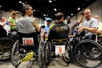 Veterans gather in the Spokane Convention Center before the slalom super G competition begins during the 29th National Veterans Wheelchair Games July 16, 2009 in Spokane, Wash. (U.S. Air Force/Staff Sgt. Desiree N. Palacios)