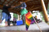 A rainbow flag is placed in the ground for Lesbian, Gay, Bisexual and Transgender Pride Month during the Picnic in the Park at Nussbaumer Park, June 27, 2015, in Fairbanks, Alaska. (U.S. Air Force photo by Senior Airman Ashley Nicole Taylor/Released)
