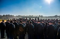 U.S. Army Soldiers prepare to graduate Infantry One Station Unit Training (OSUT), in March 2017 at the National Infantry Museum's Inouye Parade Field. (Fort Benning photo/Patrick Albright)
