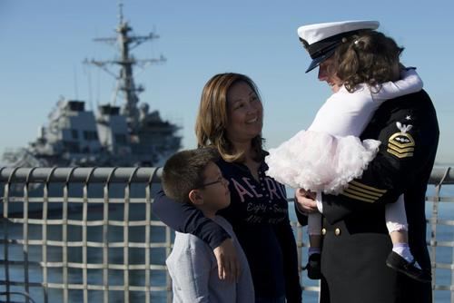 FILE PHOTO -- Senior Chief Aviation Electrician's Mate Christopher Perry spends time with his family aboard the USS Freedom (LCS 1) before his departure on a deployment, March 1. (U.S. Navy/Mass Communication Specialist 3rd Class John Grandin)