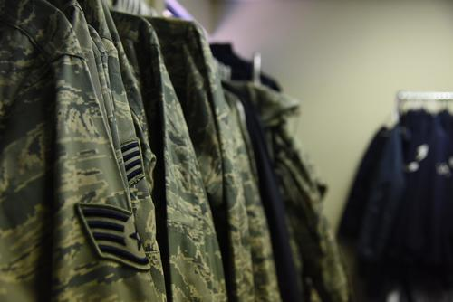 Airmen Battle Uniforms hang on a rack for Airmen to take at the Airmen's Attic, Feb. 8, 2018, at Altus Air Force Base, Okla. (U.S. Air Force/Airman 1st Class James Johnson)