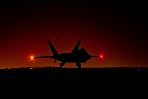 A U.S. Air Force F-22 Raptor assigned to the 380th Air Expeditionary Wing, Al Dhafra Air Base, United Arab Emirates prepares to taxi down the runway in support of Operation Inherent Resolve, Feb. 13, 2018. (U.S. Air Force photo/Anthony Nelson Jr.)