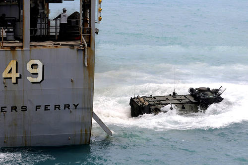 The amphibious dock landing ship USS Harpers Ferry (LSD 49) launches an amphibious assault vehicle. The warship's skipper was relieved of duty after 14 months in command. (US Navy photo/Geronimo Aquino)