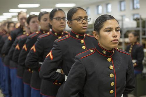Marines with November Company, 4th Recruit Training Battalion wait in line Nov. 9, 2018 to have their uniforms examined by base fitters at Marine Corps Recruit Depot Parris Island, S.C. (U.S. Marine Corps/Staff Sgt. Tyler Hlavac)