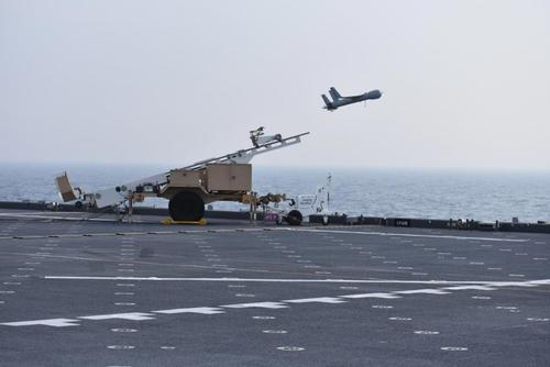 A ScanEagle is launched during a Strait of Hormuz transit aboard USS Lewis B. Puller (ESB 3), Feb. 26, 2018. (U.S. Navy/Chief Logistics Specialist Brandon Cummings)