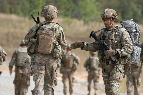 us soldiers from the 2nd battalion 2nd security force assistance brigade move to a